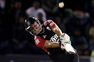 England debutant Jonny Bairstow sends one into the river on Friday night. 