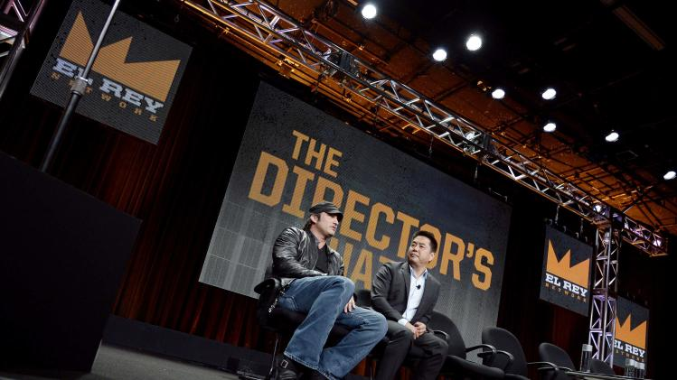 Rodriguez, El Rey Founder and Director, and Sassa, El Rey Network Vice Chairman, speak during El Rey Network's portion of the 2014 Television Critics Association Cable Summer Press Tour in Beverly Hills