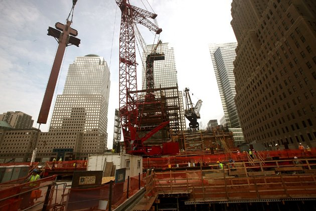 Massive Steel Columns For New One World Trade Center Building Erected