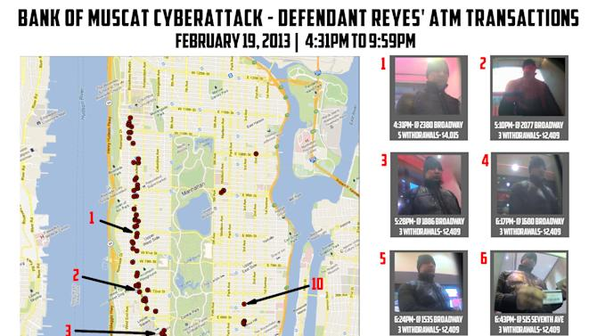 "This undated graphic released by the U.S. Attorney's Office in New York City shows ten photos of a man identified as ""defendant Reyes"" who allegedly used fraudulent magnetic cards to steal money from cash machines, next to a map of Manhattan indicating the locations of the looted machines. Federal prosecutors said on Thursday, May 9, 2013, that a gang of cyber-criminals stole $45 million in a matter of hours by hacking their way into a database of prepaid debit cards and then draining cash machines around the globe. (AP Photo/U.S. Attorney's Office)"