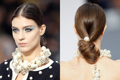 PEARL-ADORNED CHIGNONS AT CHANEL