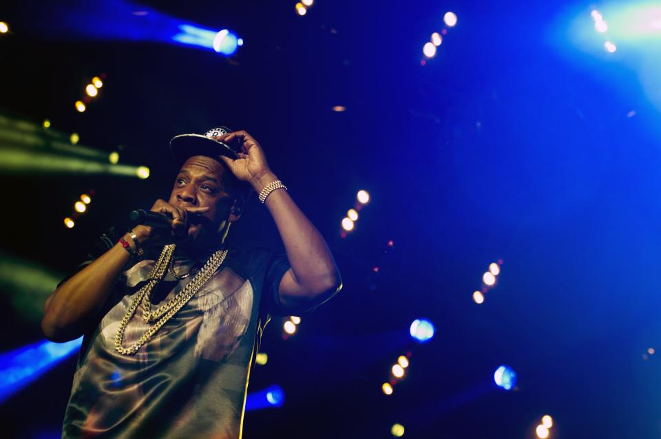 "Jay-Z performs at the ""Made In America"" music festival on Saturday, Sept. 1, 2012, in Philadelphia, PA. (Photo by Charles Sykes/Invision/AP)"