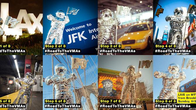 "IMAGE DISTRIBUTED FOR MTV - This montage of photos unveiled today via. the @MTV Instagram account shows the VMA Moonman as it leaves Los Angeles and tours the Big Apple as it gets set to make history by bringing the 2013 ""Video Music Awards"" to Brooklyn, New York for the first time ever.  Airing LIVE from Barclays Center on Sunday, August 25, this year's ""Video Music Awards"" will mark the 30th anniversary of the show and become the first major annual award show to take place in the borough of Brooklyn. (Photos by Invision for MTV/AP Images)"