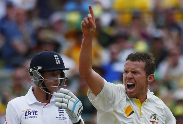 Australia's Siddle celebrates after taking the wicket of England's Carberry during the fourth day of the second Ashes test cricket match in Adelaide