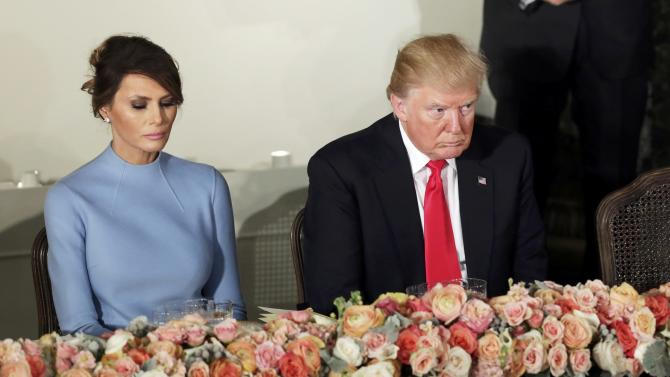 Donald Trump and first lady Melania attend the Inaugural luncheon at the National Statuary Hall in Washington
