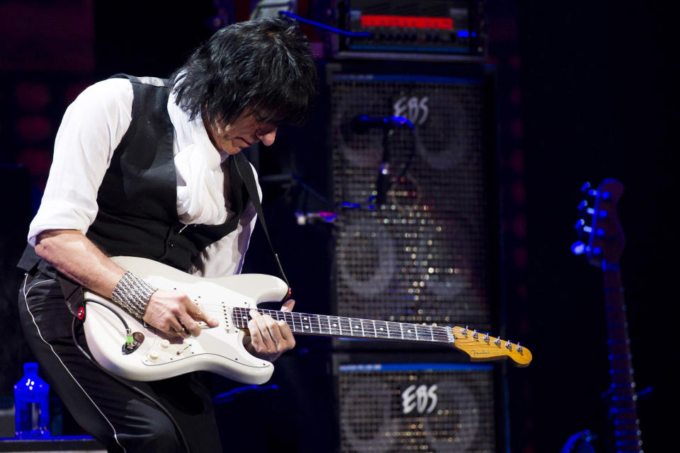 Jeff Beck performs at Eric Clapton's Crossroads Guitar Festival 2013 at Madison Square Garden on Saturday, April 13, 2013, in New York. (Photo by Charles Sykes/Invision/AP)