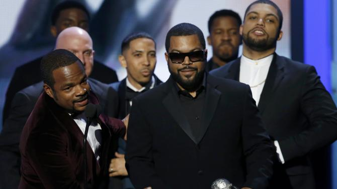 "Director Gray accepts the award for Outstanding Motion Picture for ""Straight Outta Compton"" with producer Ice Cube at the 47th NAACP Image Awards in Pasadena"