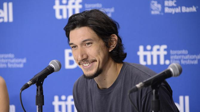 "FILE - In this Sept. 8, 2013 file photo, Adam Driver attends a news conference for ""The F Word"" on day 4 of the Toronto International Film Festival in Toronto. The cast of ""Star Wars: Episode VII"" was announced Tuesday, Aril 29, 2014, on the official ""Star Wars"" website by Lucasfilm. Actors Oscar Isaac, Max von Sydow, John Boyega, Daisy Ridley, Domhnall Gleeson and Driver will be joining the cast. (Photo by Evan Agostini/Invision/AP, File)"