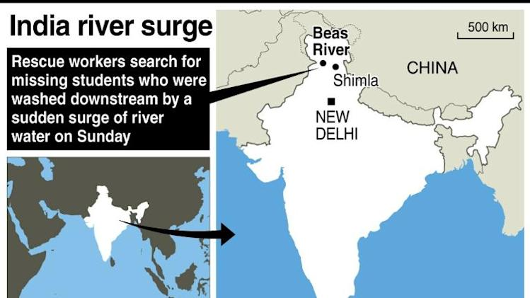 Map of India locating the area where 24 students went missing after being washed downstream by a sudden river surge on Sunday