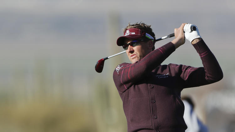 England's Ian Poulter hits a shot off the eighth fairway in the semifinal round of play against Hunter Mahan during the Match Play Championship golf tournament, Sunday, Feb. 24, 2013, in Marana, Ariz. (AP Photo/Julie Jacobson)