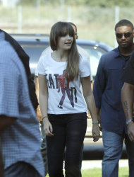 Paris Jackson, daughter of the late pop icon Michael Jackson, arrives at a Jackson tribute event Wednesday, Aug. 29, 2012, in Gary, Ind. Members of Michael's family are in the Northwestern Indiana city on what would have been Jackson's 54th birthday. (AP Photo/Charles Rex Arbogast)