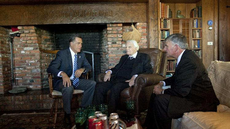 Republican presidential candidate, former Massachusetts Gov. Mitt Romney, left, meets with Rev. Billy Graham, center, and his son Franklin Graham, Thursday, Oct. 11, 2012, in Montreat, N.C.  (AP Photo/ Evan Vucci)