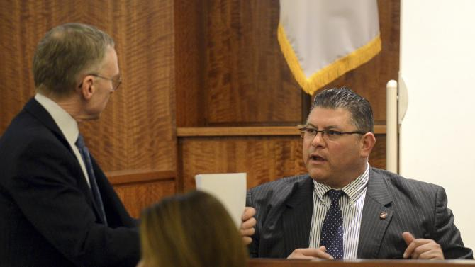 Witness Leal, a Record Custodian with Sprint Telecommunications testifies during the murder trial of National Football League player Aaron Hernandez in Bristol County Superior Court in Fall River