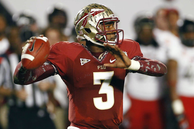 Florida State quarterback EJ Manuel (3) looks to pass during the first half of the Orange Bowl NCAA college football game against Northern Illinois, Tuesday, Jan. 1, 2013, in Miami. (AP Photo/J Pat Carter)