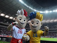 The mascot for the Euro 2012 football championships co-hosted by Poland and Ukraine, Slavek (L) and Slavko. A group of Polish folk-singing grandmothers on Wednesday won the race to choose Poland&#39;s official team anthem for the looming European championships on home soil