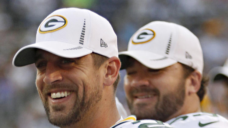 Green Bay Packers quarterback Aaron Rodgers watches from the sidelines during the second half of an NFL preseason football game against the San Diego Chargers on Thursday, Aug. 9, 2012, in San Diego. (AP Photo/Lenny Ignelzi)