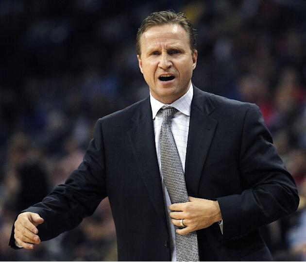 Oklahoma City Thunder head coach Scott Brooks reacts to a foul called against his team in the first half of an NBA basketball game against the New Orleans Pelicans in New Orleans, Friday, Dec. 6, 2013