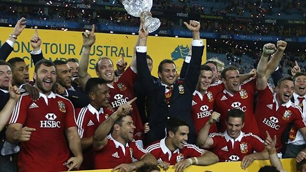British and Irish Lions' players celebrate winning their series over Australia Wallabies after their third and final rugby union test match at ANZ stadium in Sydney, July 6, 2013. (Reuters)