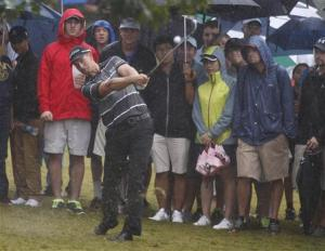 Henrik Stenson hits from the rough off the 17th fairway during the Tour Championship golf tournament in Atlanta