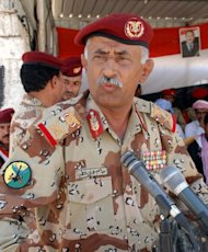 Yemeni army General Salem Ali Qoton, who was leading the fight against Al-Qaeda in the country's south, seen at a military ceremony in Yemen's southern province of Abyan in April. Al-Qaeda said on Thursday that it carried out a suicide bombing that killed Qoton, a US monitoring group said