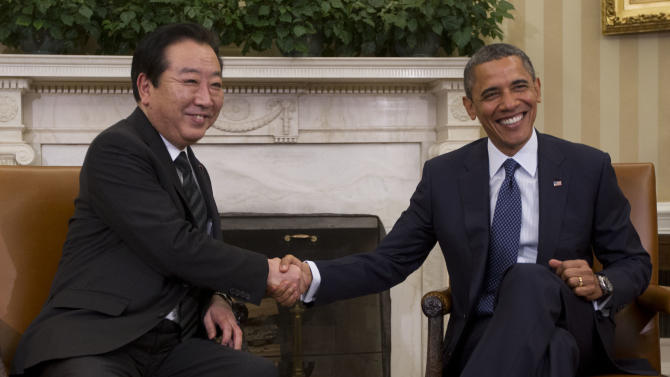 President Barack Obama meets with Japanese Prime Minister Yoshihiko Noda in the Oval Office of the White House in Washington, Monday, April 30, 2012. (AP Photo/Pablo Martinez Monsivais)