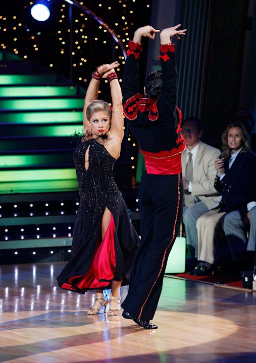 Shawn Johnson and Mark Ballas perform the Paso Doble to &quot;Gotta Get thru This&quot; by Daniel Bedingfield on &quot;Dancing with the Stars.&quot; 