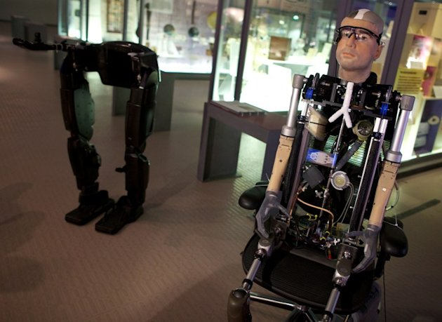 A picture shows &quot;Rex&quot;, the world's first &quot;bionic man&quot;, during a photo call at the Science Museum in London on February 5, 2013. The 640,000 GBP (1 million US dollars) humanoid has a distinctly human s