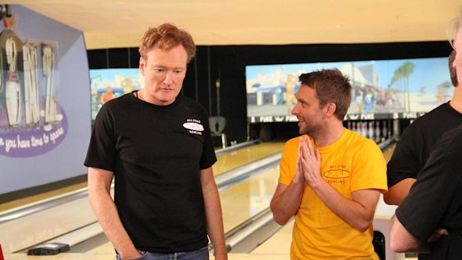 "This undated image released by the Nerdist Channel shows TV talk show host Conan O'Brien, left, and Chris Hardwick in ""All Star Celebrity Bowling."" Nerdist began as a little weekly comedy podcast hosted by Hardwick and launched in 2010. It has grown to encompass a network of 21 podcasts, 27 YouTube shows and a growing TV presence.  (AP Photo/Nerdist Channel)"
