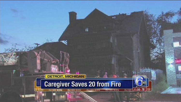 Caregiver helps save 20 residents from fire