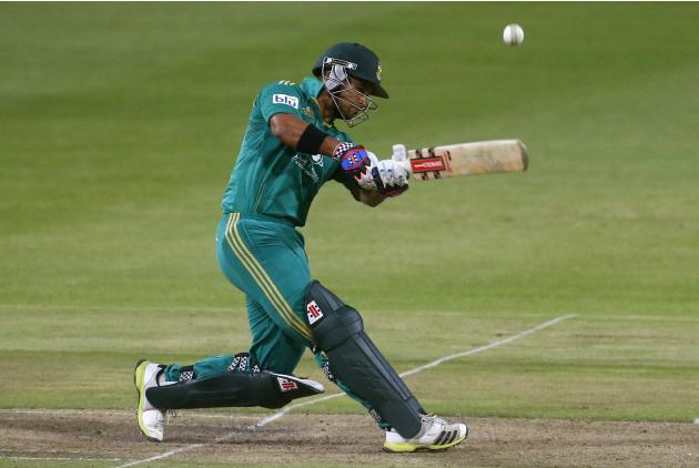 South Africa's JP Duminy plays a shot during the second Twenty20 cricket match against Pakistan in Cape Town