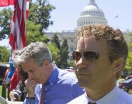 FILE -- In this July 27, 2011 file photo, Rep. Joe Walsh, R-Ill., left, and Sen. Rand Paul, R-Ky. attend a Tea Party rally on Capitol Hill in Washington. (AP Photo/Harry Hamburg)