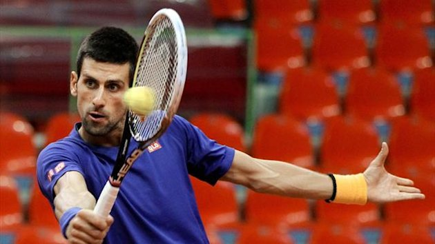 Serbia&#39;s Novak Djokovic hits a return during a training session ahead of the Davis Cup tennis match between Belgium and Serbia (AFP)