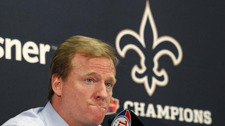 FILE - In this Aug. 2, 2010 file photo, NFL commissioner Roger Goodell  speaks at a media conference at the New Orleans Saints training facility in Metairie, La. The NFL says that New Orleans Saints players maintained a bounty program over the last three seasons that targeted opponents with the intent to injure them. The league disclosed the findings of an investigation Friday, saying between 22 and 27 defensive players and at least one assistant coach were involved. (AP Photo/Gerald Herbert, File)
