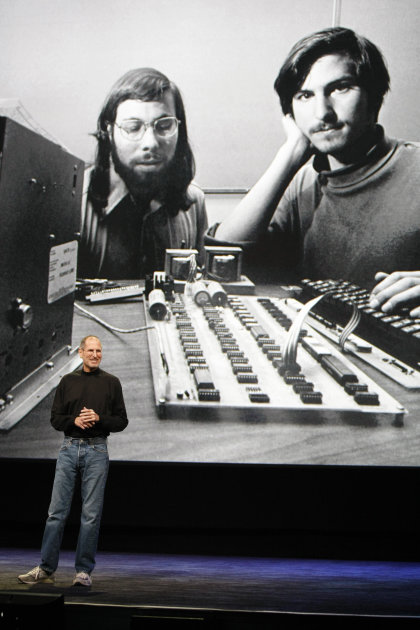 FILE - In this file photo taken Jan. 27, 2010 file photo, Apple CEO Steve Jobs stands in front of a  photo of himself, right, and Steve Wozniak, left,  during an Apple event in San Francisco. Apple In