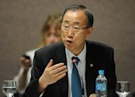 UN Secretary General Ban Ki-Moon speaks during a meeting at the UN Conference on Sustainable Development, Rio+20, in Rio de Janeiro, Brazil. The biggest UN summit on sustainable development in a decade approved a strategy to haul more than a billion people out poverty and cure the sickness of the biosphere