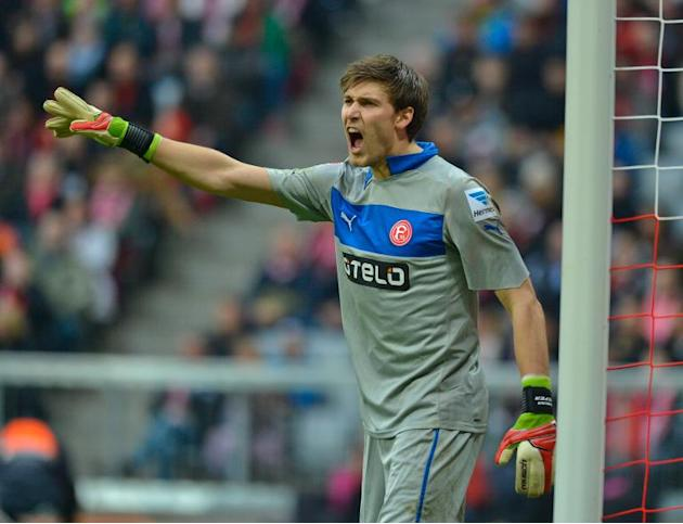 Duesseldorf's goalkeeper Fabian Giefer reacts during a German first division Bundesliga match against Bayern Munich, in Munich, southern Germany, on March 9, 2013