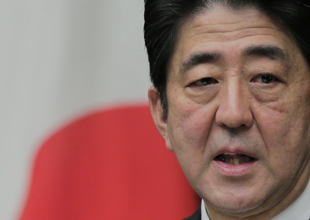Japanese Prime Minister Shinzo Abe speaks during a news conference at his official residence in Tokyo, Friday, Jan. 11, 2013. The Japanese Cabinet approved a fresh stimulus spending of more than 20 trillion yen ($224 billion) on Friday, rushing to fulfill campaign pledges to break the world's third-biggest economy out of its deflationary slump. (AP Photo/Itsuo Inouye)