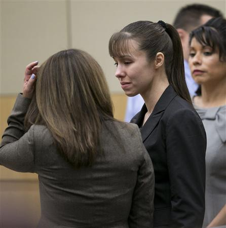 Jodi Arias stands as the jury is excused after the verdict for
