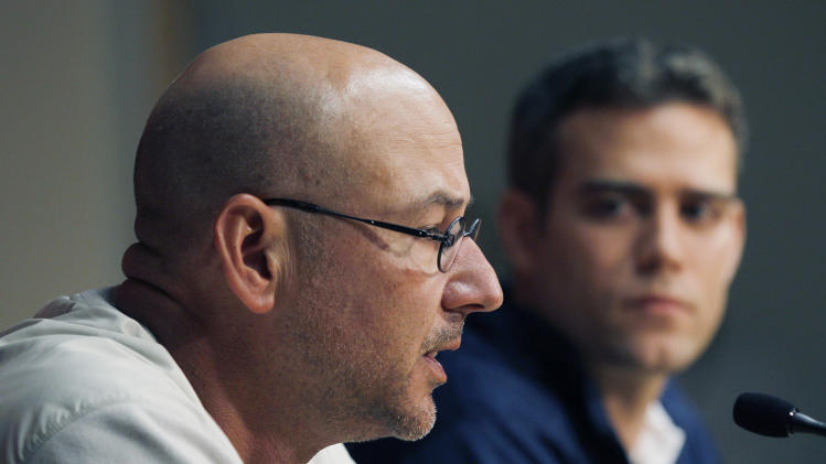 "Boston Red Sox manager Terry Francona, left, speaks as general manager Theo Epstein listens during a news conference at Fenway Park in Boston, Thursday, Sept. 29, 2011, one day after the Red Sox failed to make the baseball playoffs. Epstein said he won't make a scapegoat of Francona after the team's unprecedented September collapse, and that everyone will be evaluated this offseason, including the manager and GM. But he said ""nobody blames"" the team's 7-20 in the final month on Francona. (AP Photo/Elise Amendola)"