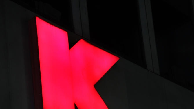 This Nov. 9, 2011 photo, shows signs at at Kmart store, in New York. Sears Holdings Corp. said Tuesday, Dec. 27, 2011, it plans to close 100 to 120 of its Sears and Kmart stores as its holiday sales disappointed and it looks to reduce costs. (AP Photo/Mark Lennihan)