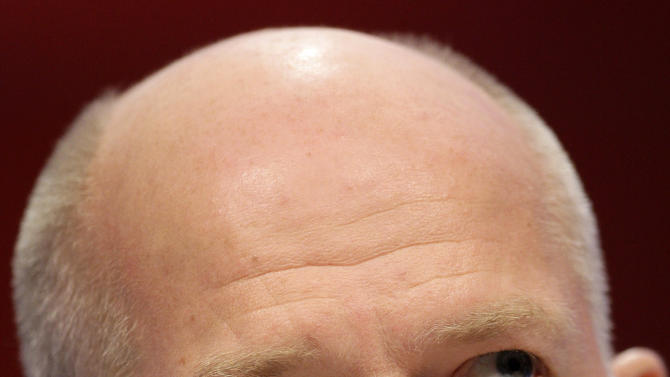 British Foreign Secretary William Hague speaks during the Conservative Party Conference, Manchester, England, Wednesday, Oct. 5, 2011. (AP Photo/Jon Super)