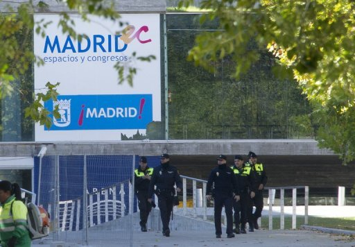 &lt;p&gt;Spanish police officers walk near the entrance to the Madrid Arena stadium in Madrid on November 1, 2012. Madrid&#39;s deputy mayor resigned Wednesday over a deadly stampede at a Halloween rave party that killed five young women.&lt;/p&gt;