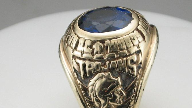 This photo provided by  Dan Cherry shows the 1972 class ring from the former Mackin Catholic High School in Washinton, D.C. that was purchased in a jewelry store in Vietnam. Cherry, a former Air Force brigadier general from Bowling Green, Ky., has been trying for several years to find its owner. (AP Photo/Courtesy Dan Cherry)