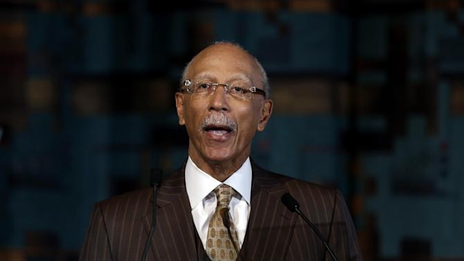 Detroit Mayor Dave Bing speaks during a news conference in Detroit, Tuesday, May 14, 2013. Bing announced he won't seek a second term as leader of the financially troubled city, which recently became the largest in the country placed under state oversight.  (AP Photo/Paul Sancya)