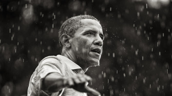 IMAGE DISTRIBUTED ON BEHALF OF THE SONY WORLD PHOTOGRAPHY AWARDS - President Barack Obama speaks in the rain during a campaign rally in Glen Allen, Virginia, United States, in this Tuesday, July 17, 2012. This photo has been shortlisted for a Sony World Photography Award. The winners of the Sony World Photography Awards will be announced on April 25, 2013. (Brooks Kraft /Sony World Photography Awards via AP Images)