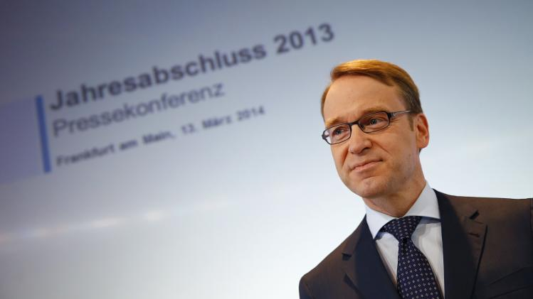 Weidmann President of Germany's federal reserve bank Bundesbank waits for the start of the bank's annual news conference in Frankfurt