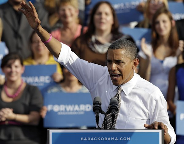 President Obama waves to supporters while speaking at a campaign event at Ybor Centennial Park in Tampa, Fla., Thursday, Oct. 25, 2012. The president is on the second day of his 48 hour, 8 state campaign blitz. (AP Photo/Chris O&#39;Meara)