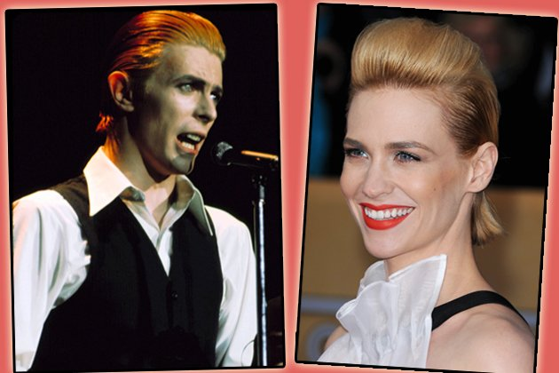 David Bowie und January Jones mit derselben Frisur (Bilder: Getty, ddp)