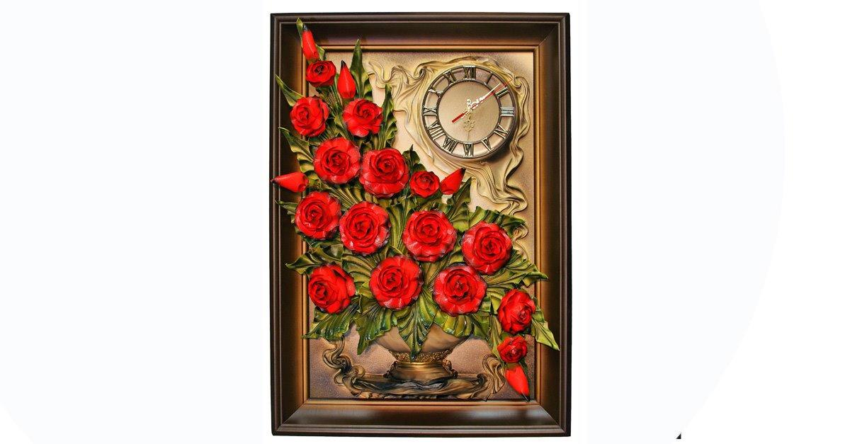 European Leather Handmade Red Rosses With Clock