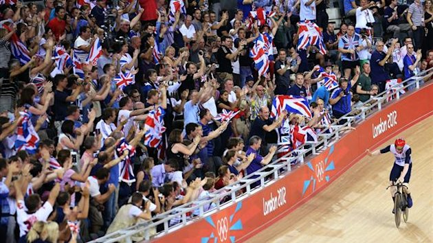 Team GB fans watch cycling at the Velodrome